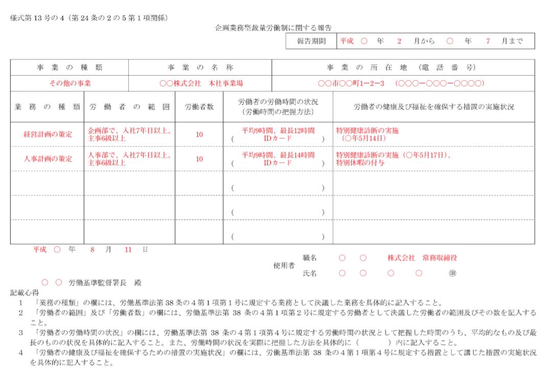 企画業務型裁量労働制に関する決議届(様式第13号の2(第24条の2の3第1項関係)
