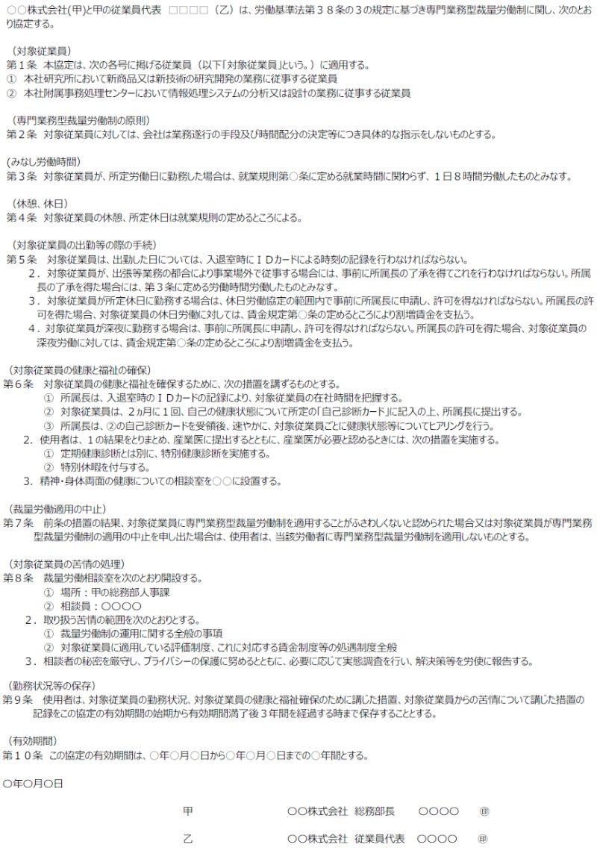 専門業務型裁量労働時間制のための労使協定の記載例